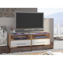 MORAVIA FLAT TV stolek SEMPRIO, dub sonoma/bílý lesk