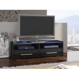 MORAVIA FLAT TV stolek SEMPRIO, černá/černý lesk