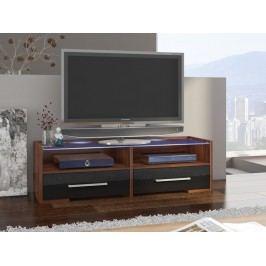 MORAVIA FLAT TV stolek SEMPRIO, švestka wallis/černý lesk