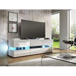 MORAVIA FLAT TV stolek INTER, bílá/bílý lesk