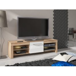 MORAVIA FLAT TV stolek FLEX, dub sonoma/bílý lesk