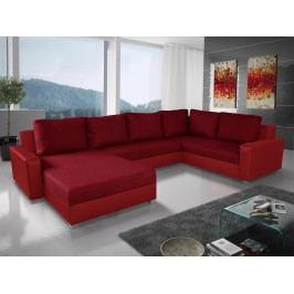 Smartshop Rohová sedačka BONO U 3 pravá, vínová látka/červená ekokůže