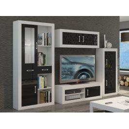 Obývací stěna VERIN 8, bílá/černý lesk