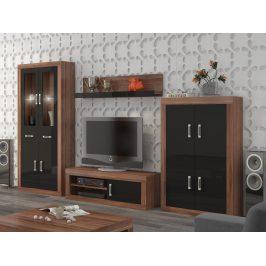 Obývací stěna VERIN 10, švestka wallis/černý lesk