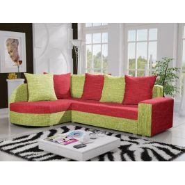 Rohová sedačka LIZBONA 6 levá, červená/zelená