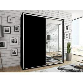 Smartshop Skříň DIVA 200 se zrcadlem, černý mat