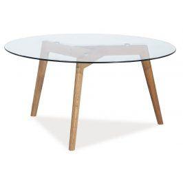 Konferenční stolek OSLO L2, dub/sklo