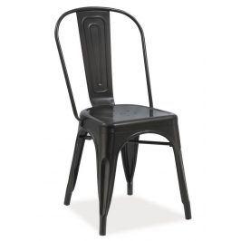 Jídelní kovová židle LOFT, černá mat