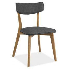 Jídelní čalouněná židle KARL, šedá/dub