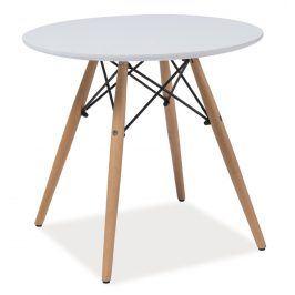 Jídelní stůl kulatý SOHO 80, bílá/buk