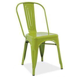 Jídelní kovová židle LOFT, zelená