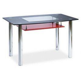 Smartshop Jídelní stůl TWIST A červená polička, kov/sklo