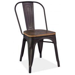 Jídelní kovová židle LOFT grafit/ořech