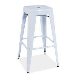 Barová kovová židle LONG, bílá