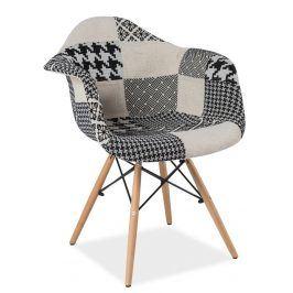 Jídelní židle DENIS B, patchwork-černá/bílá