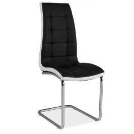 Jídelní čalouněná židle H-103, černá/bílá