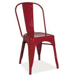 Jídelní kovová židle LOFT, červená