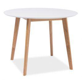 Jídelní stůl kulatý MOSSO II, dub-bílá