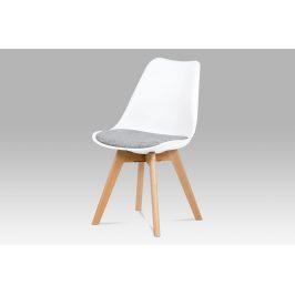 Jídelní židle CT-722 WT2, bílý plast / šedá tkanina / natural