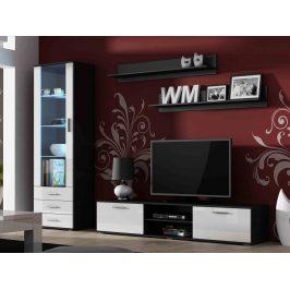 SOHO, obývací pokoj - sestava 1, černý mat/bílý lesk