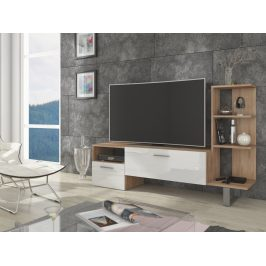 MORAVIA FLAT BEST televizní stolek, dub sonoma/bílý lesk