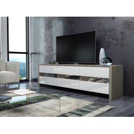 MORAVIA FLAT FOX televizní stolek, dub sonoma/bílý lesk