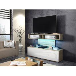 REX televizní stolek, dub sonoma/bílý lesk