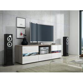 MORAVIA FLAT GLOBAL 2 televizní stolek, dub sonoma/bílý lesk