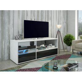 MORAVIA FLAT GLOBAL 1 televizní stolek, bílá/černý lesk