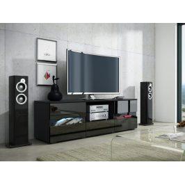 MORAVIA FLAT GLOBAL 2 televizní stolek, černá/černý lesk