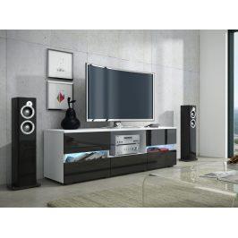 MORAVIA FLAT GLOBAL 2 televizní stolek, bílá/černý lesk