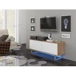 KING 1 TV stolek, dub sonoma/bílý lesk