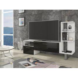 BEST televizní stolek, bílá/černý lesk