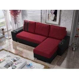 Smartshop Rohová sedačka ROY 7-266 pravá, červená látka/černá ekokůže