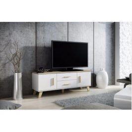 CAMA LOTTA televizní stolek RTV 140 2D2S, bílá/dub sonoma