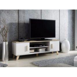 LOTTA televizní stolek RTV 160 2D2K, bílá/dub sonoma