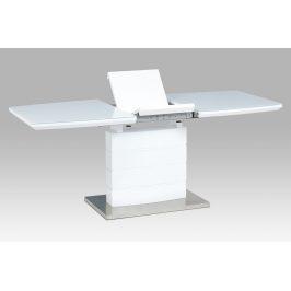 Autronic Rozkládací jídelní stůl HT-440 WT, bílý lesk/bílé sklo/broušený nerez