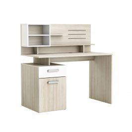 MALICIA psací stůl, bílá/dub shannon psací stůl, bílá/dub shannon