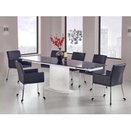 Jídelní stůl rozkládací ANDERSON 160/250x90 cm, bílá/černá