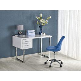 Minimalistický psací stůl B-30, bílý lesk/stříbrná
