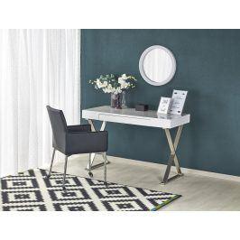 Elegantní psací stůl B-31, bílý lesk/stříbrná