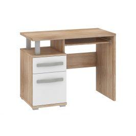 ANGEL PC stůl 1D1S, dub sonoma/bílý lesk Psací stoly