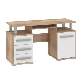 ANGEL PC stůl 1D3S, dub sonoma/bílý lesk