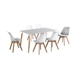Jídelní stůl DIDIER, bílý/buk