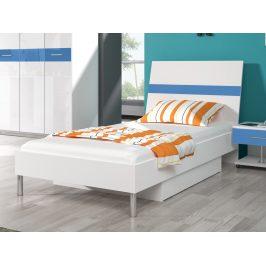 Smartshop Postel 90x200 cm RAJ 1, bílá/modrý lesk