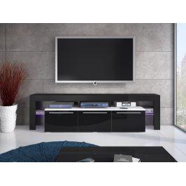 Televizní stolek RTV BETA 150 Plus, bílá/černý lesk