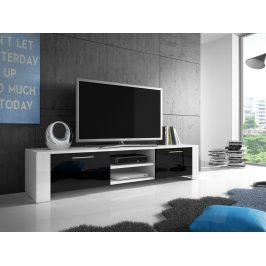 Televizní stolek RTV 9, bílá/černý lesk
