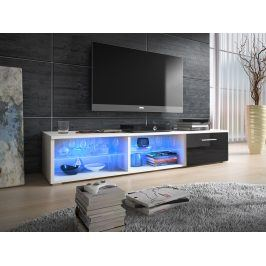 Televizní stolek RTV 5, bílá/černý lesk
