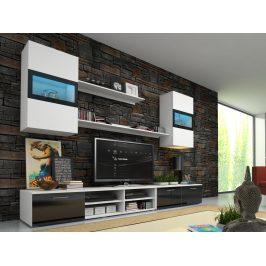 Obývací stěna OMEGA s LED osvětlením, bílá/černý lesk