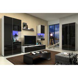 Obývací pokoj NICEA 4, bílá/černý lesk